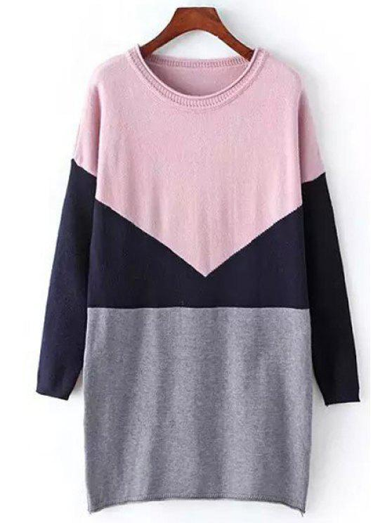 outfit Hit Color Long Sleeve Sweater Dress - PINK ONE SIZE(FIT SIZE XS TO M)