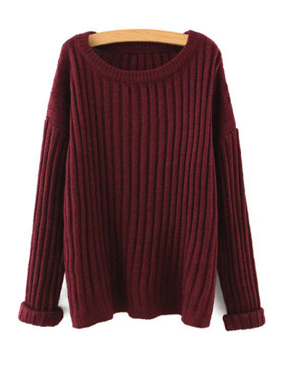 women Loose Fitting Long Sleeves Solid Color Sweater - RED ONE SIZE(FIT SIZE XS TO M)