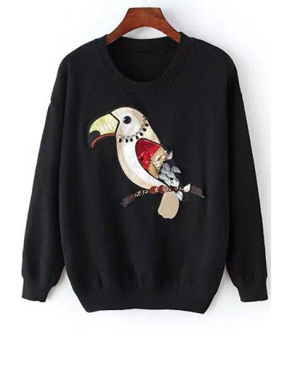 fancy Bird Embroidery Long Sleeve Jumper - BLACK ONE SIZE(FIT SIZE XS TO M)