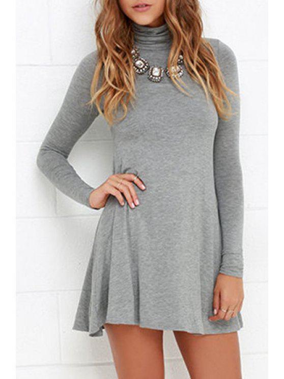 sale Turtle Neck Solid Color Dress - GRAY M