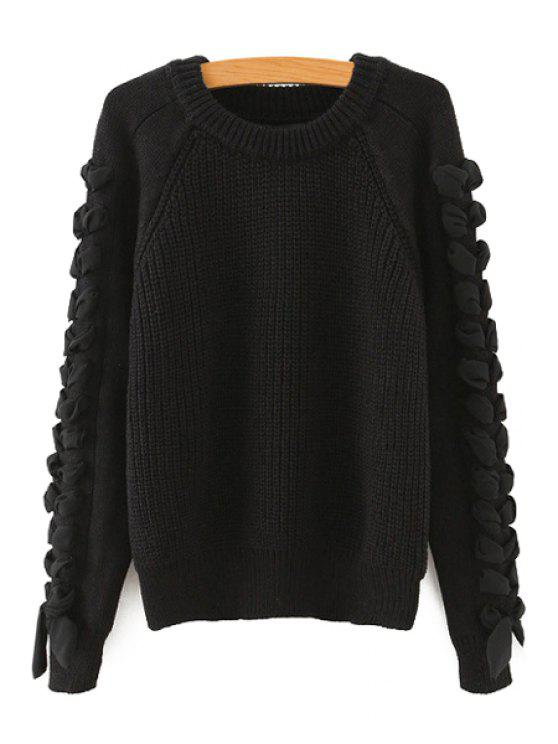 outfits Chiffon Applique Spliced Round Collar Sweater - BLACK ONE SIZE(FIT SIZE XS TO M)