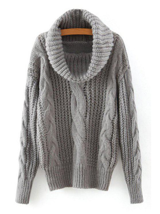 chic Solid Color Twist Braided Turtle Neck Sweater - GRAY ONE SIZE(FIT SIZE XS TO M)
