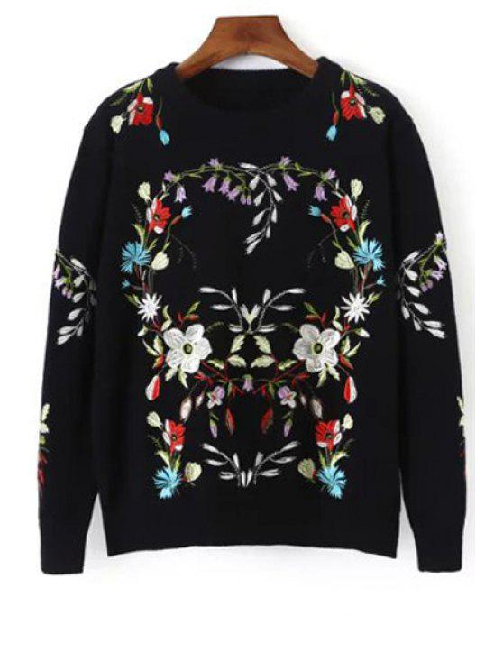 best Floral Embroidery Long Sleeve Jumper - BLACK ONE SIZE(FIT SIZE XS TO M)
