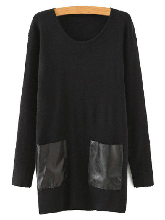 women's Faux Leather Pockets Patchwork Round Neck Sweater - BLACK ONE SIZE(FIT SIZE XS TO M)