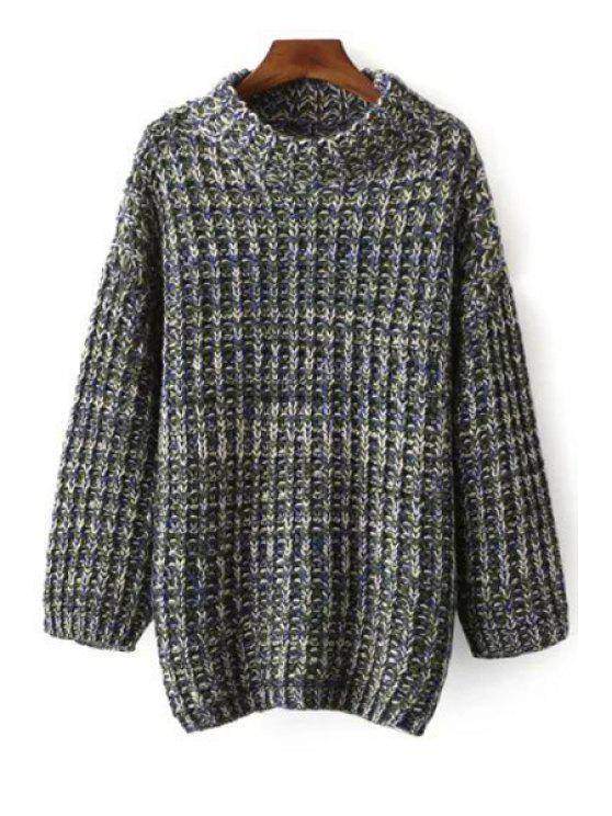 Multi Farbe Langarm Pullover mit Stehkragen - Blau Einheitsgröße(Geeign
