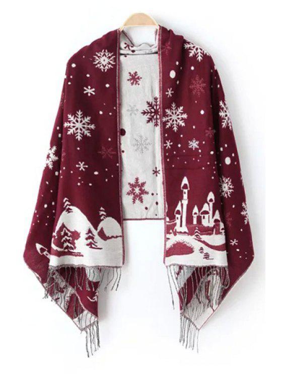 shops Christmas Snowflake Castle Tassel Pashmina - WINE RED