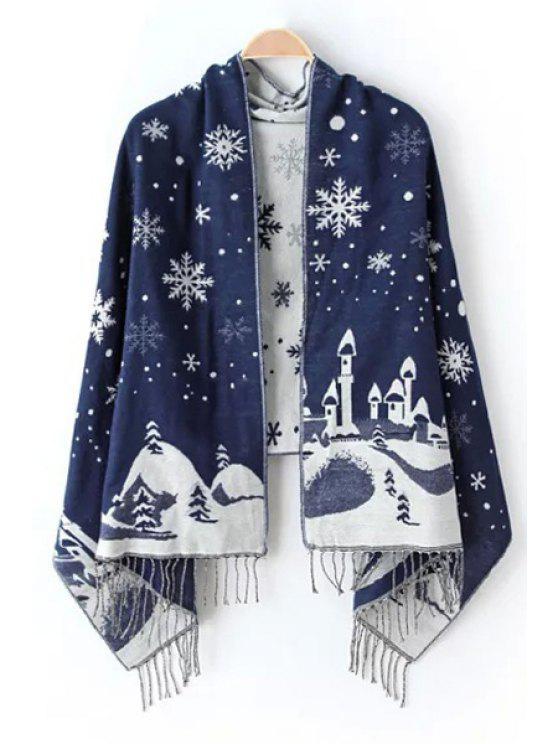 trendy Christmas Snowflake Castle Tassel Pashmina - PURPLISH BLUE