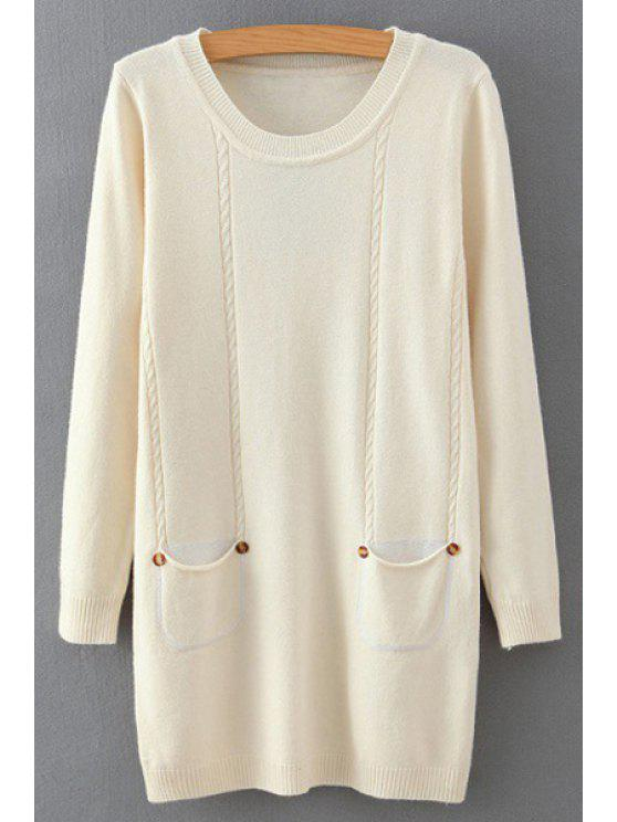 best Solid Color Round Neck Long Sleeves Pockets Sweater - WHITE ONE SIZE(FIT SIZE XS TO M)