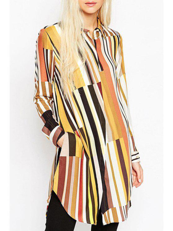 unique Striped Colorful High Low Dress - COLORMIX S