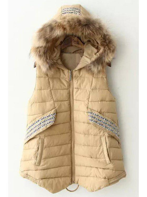 womens Faux Fur Spliced Hooded Waistcoat - KHAKI M