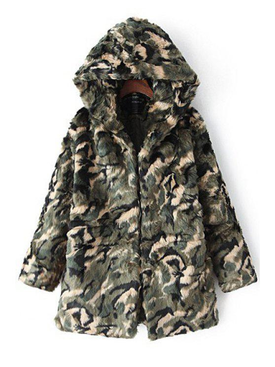 latest Faux Fur Hooded Long Sleeve Coat - ARMY GREEN ONE SIZE(FIT SIZE XS TO M)