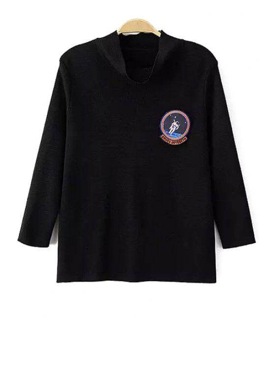 outfit Solid Color Turtle Neck Badge Patch Sweater - BLACK S