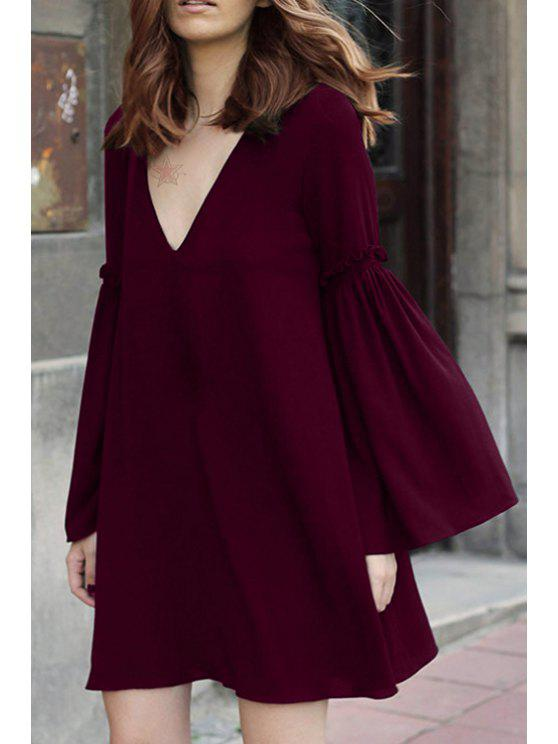 affordable Bell Sleeve Solid Color Flare Dress - WINE RED M