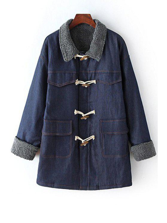 hot Denim Fleece Turn Down Collar Coat - BLUE ONE SIZE(FIT SIZE XS TO M)
