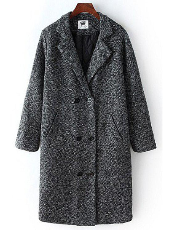 outfit Gray Lapel Long Sleeves Double-Breasted Coat - GRAY ONE SIZE(FIT SIZE XS TO M)