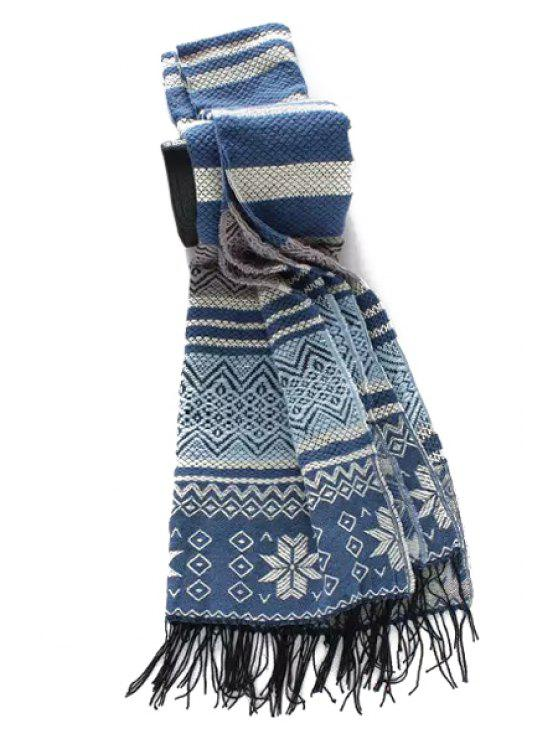 ladies Christmas Snowflake Tassel Scarf - BLUE