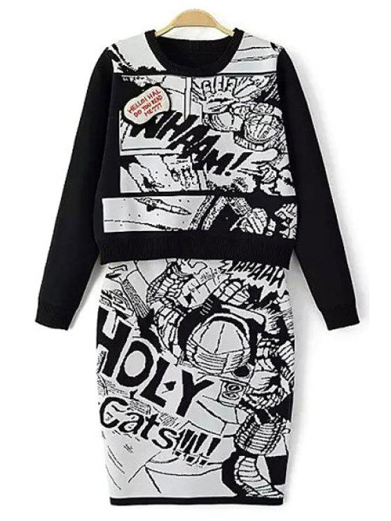 shop Cartoon Print Sweater and Skirt Twinset - WHITE AND BLACK S