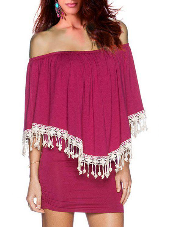 online Off-The-Shoulder Layered Bodycon Dress - ROSE ONE SIZE(FIT SIZE XS TO M)