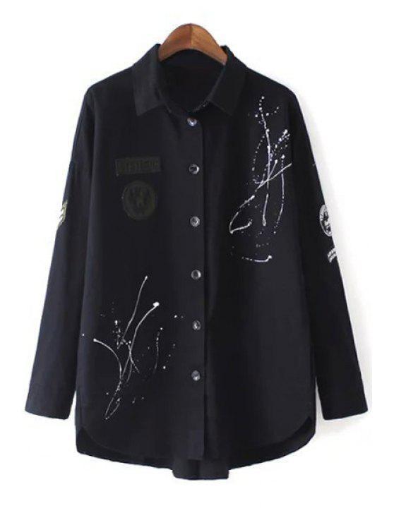 trendy Sequins Turn Down Collar Long Sleeve Coat - BLACK M