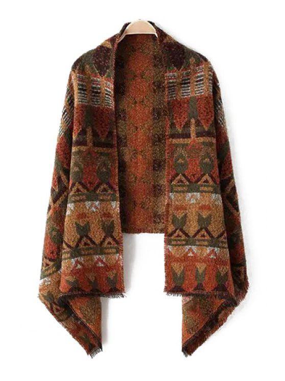sale Tribal Pattern Fringed Pashmina - BROWN