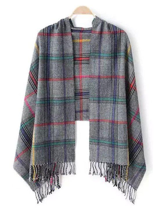 buy Colored Stripe Plaid Tassel Pashmina - GRAY