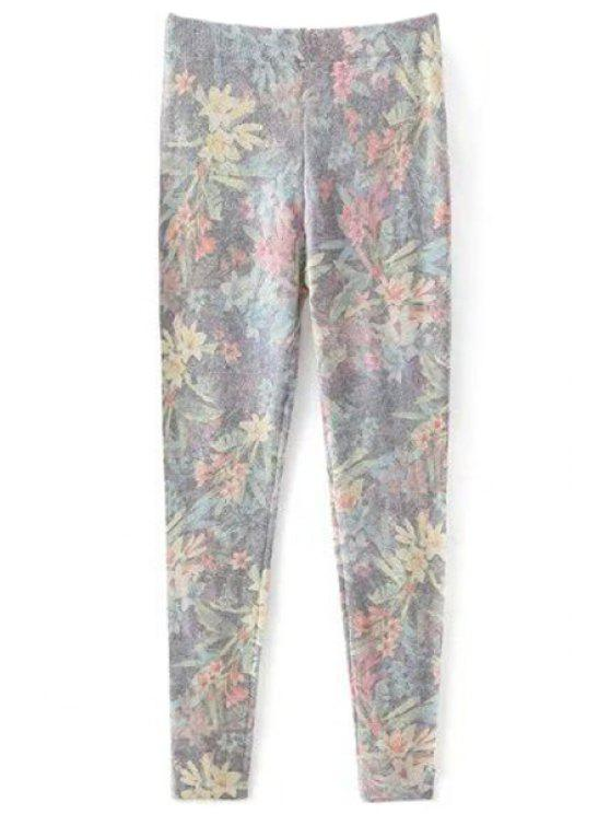 hot Printed Cashmere Thicken Leggings - GRAY L