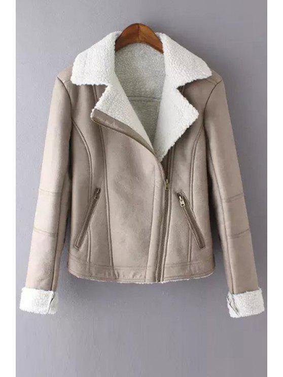 shops Faux Suede Lapel Long Sleeves Jacket - KHAKI S