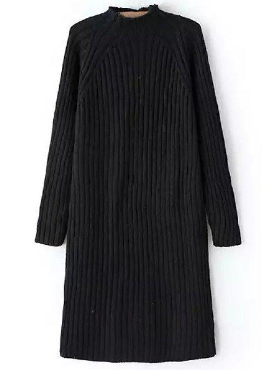 shop Pure Color Turtle Neck Long Sleeve Sweater Dress - BLACK ONE SIZE(FIT SIZE XS TO M)