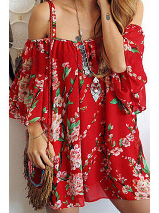 fashion Spaghetti Strap Plum Blossom Chiffon Dress - RED ONE SIZE(FIT SIZE XS TO M)