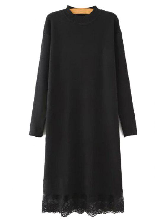latest Lace Spliced Round Neck Long Sleeves Sweater Dress - BLACK L