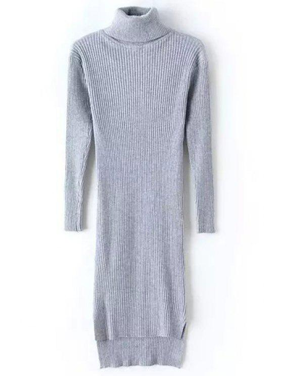 online Turtle Neck Long Sleeve Bodycon Sweater Dress - GRAY ONE SIZE(FIT SIZE XS TO M)