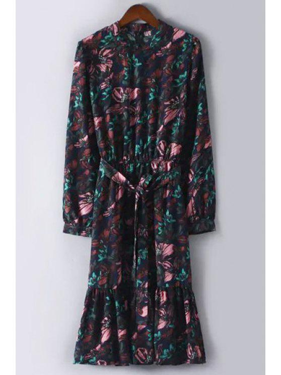 hot Floral Print Chiffon Waisted Long Sleeves Dress - COLORMIX M