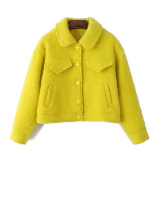 womens Solid Color Faux Fur Long Sleeves Padded Coat - YELLOW XS
