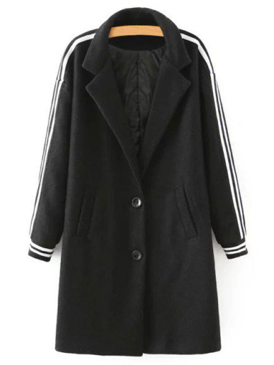 fashion Striped Printed Turn-Down Collar Long Sleeves Coat - BLACK S