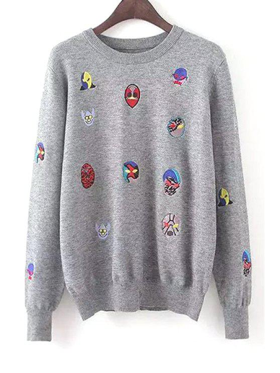fashion Embroidery Print Round Collar Long Sleeves Sweater - GRAY ONE SIZE(FIT SIZE XS TO M)