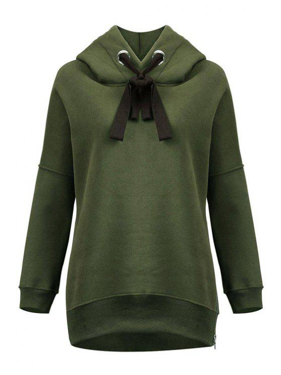 fancy Green Sherpa Pullover Hoodie - ARMY GREEN XL