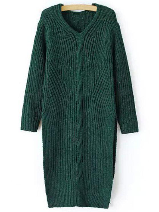 womens High Slit V Neck Long Sleeves Jumper - BLACKISH GREEN ONE SIZE(FIT SIZE XS TO M)