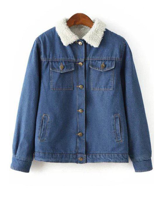 best Solid Color Denim Faux Fur Collar Padded Coat - BLUE S