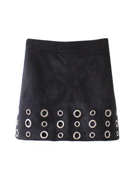 best A Line Faux Suede Skirt - BLACK S