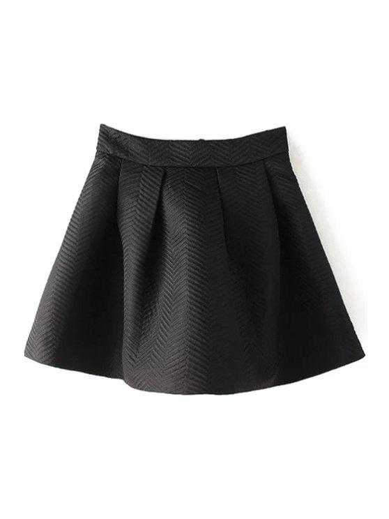 fancy Solid Color Striped Zipper A Line Skirt - BLACK S