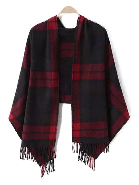 women Dark Color Plaid Tassel Pashmina - RED WITH BALCK