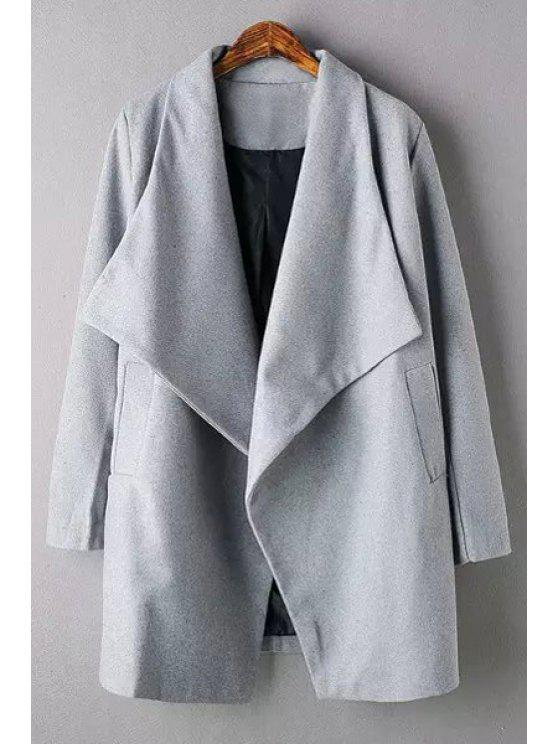 fancy Pure Color Turn Down Neck Long Sleeve Coat - GRAY L