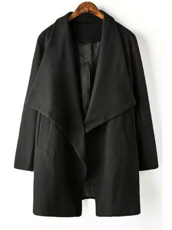 unique Pure Color Turn Down Neck Long Sleeve Coat - BLACK L