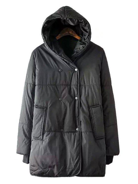 sale Black Hooded Long Sleeves Coat - BLACK S