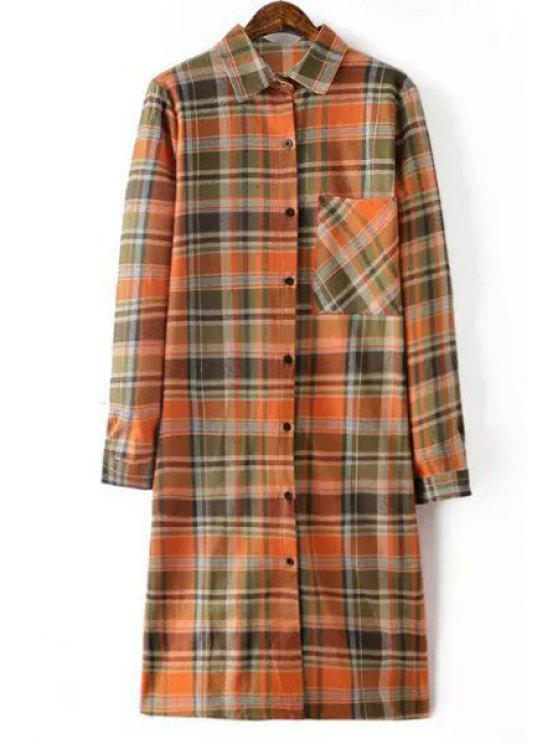 new Plaid Shirt Neck Long Sleeve Long Shirt - ORANGE S