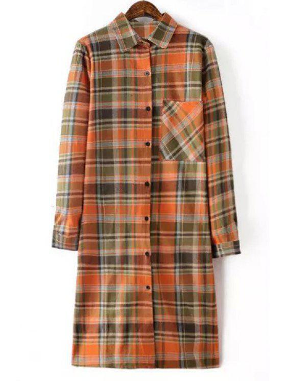 new Plaid Shirt Neck Long Sleeve Long Shirt - ORANGE S