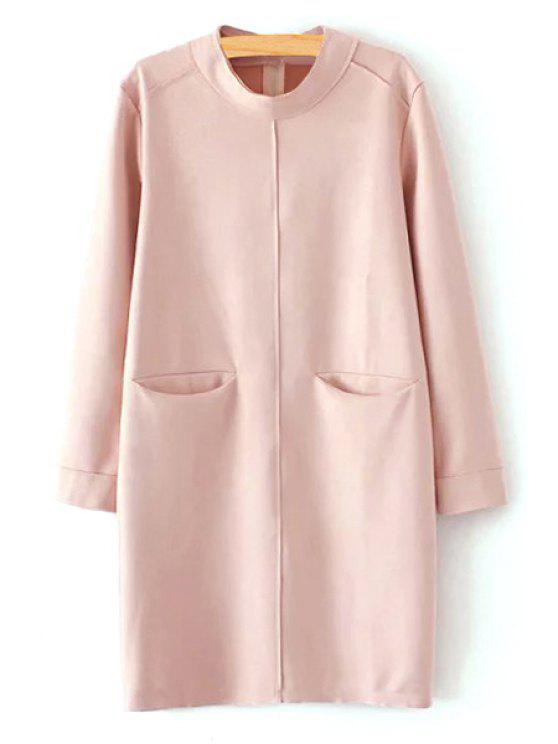 chic Pink Faux Suede Stand Neck Long Sleeve Dress - PINK S