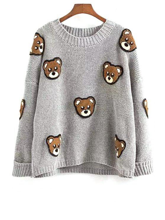 women's Full Bear Pattern Long Sleeve Jumper - GRAY ONE SIZE(FIT SIZE XS TO M)