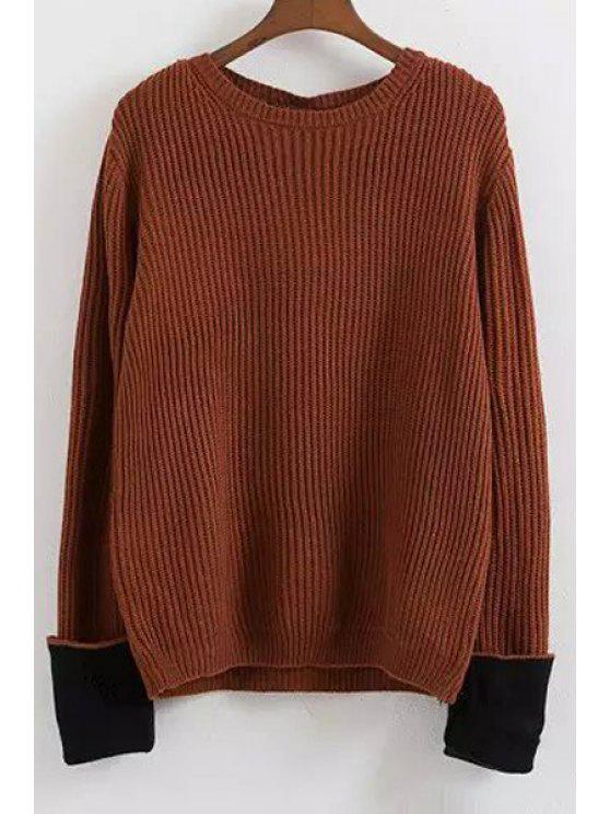 best Hit Color Jewel Neck Long Sleeve Jumper - COFFEE ONE SIZE(FIT SIZE XS TO M)
