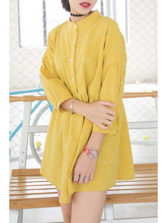 women's Stand Neck 3/4 Sleeve Polka Dot Dress - YELLOW ONE SIZE(FIT SIZE XS TO M)